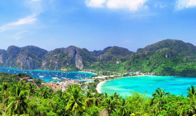 Panoramic,View,At,Viewpoint,Of,Beautiful,Tropical,Phi,Phi,Island