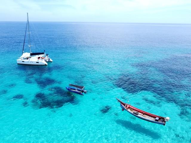 Aerial,View,Of,Coast,Beach,,Yacht,Ship,,Green,Blue,Sea