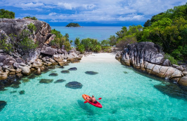 Aerial,Drone,View,Of,In,Kayak,In,Crystal,Clear,Lagoon