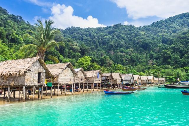 Wooden,Boat,And,House,On,Sea,Beach,,Morgan,Village,,Mu